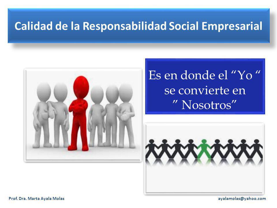 Calidad de la Responsabilidad Social Empresarial Prof. Dra. Marta Ayala Molas ayalamolas@yahoo.com Es en donde el Yo se convierte en Nosotros