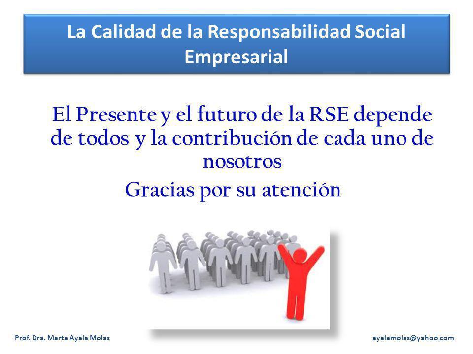 La Calidad de la Responsabilidad Social Empresarial El Presente y el futuro de la RSE depende de todos y la contribución de cada uno de nosotros Gracias por su atención Prof.