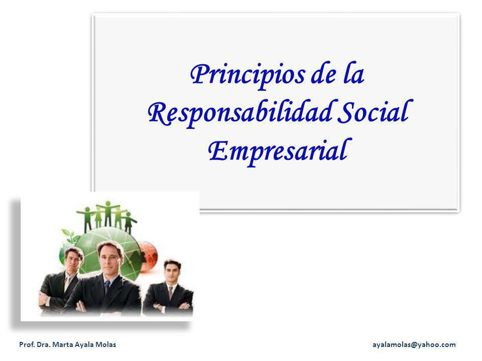 Principios de la Responsabilidad Social Empresarial Prof. Dra. Marta Ayala Molas ayalamolas@yahoo.com