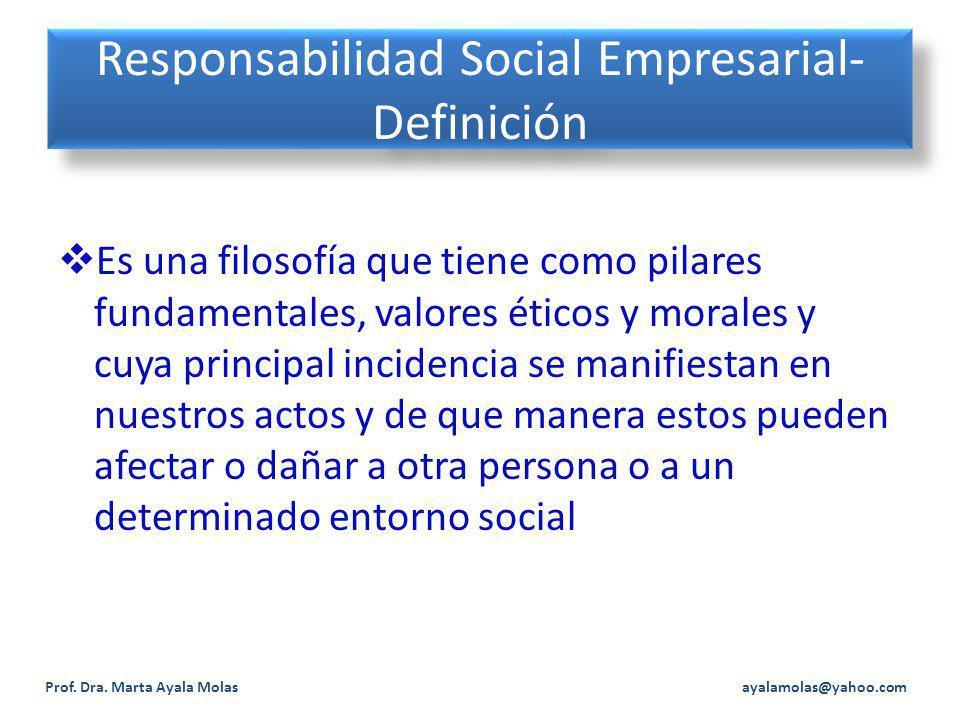Responsabilidad Social Empresarial- Definición Es una filosofía que tiene como pilares fundamentales, valores éticos y morales y cuya principal incidencia se manifiestan en nuestros actos y de que manera estos pueden afectar o dañar a otra persona o a un determinado entorno social Prof.