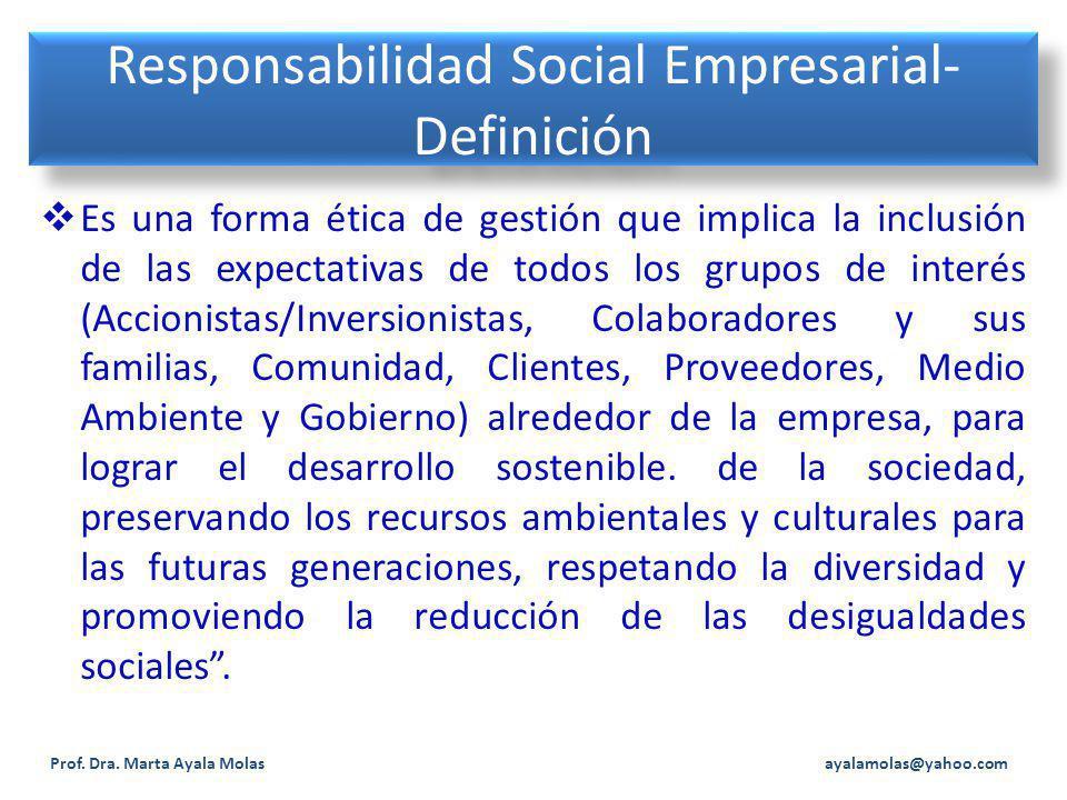 Responsabilidad Social Empresarial- Definición Es una forma ética de gestión que implica la inclusión de las expectativas de todos los grupos de interés (Accionistas/Inversionistas, Colaboradores y sus familias, Comunidad, Clientes, Proveedores, Medio Ambiente y Gobierno) alrededor de la empresa, para lograr el desarrollo sostenible.
