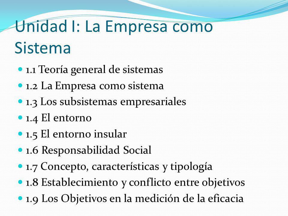 Unidad I: La Empresa como Sistema 1.1 Teoría general de sistemas 1.2 La Empresa como sistema 1.3 Los subsistemas empresariales 1.4 El entorno 1.5 El entorno insular 1.6 Responsabilidad Social 1.7 Concepto, características y tipología 1.8 Establecimiento y conflicto entre objetivos 1.9 Los Objetivos en la medición de la eficacia