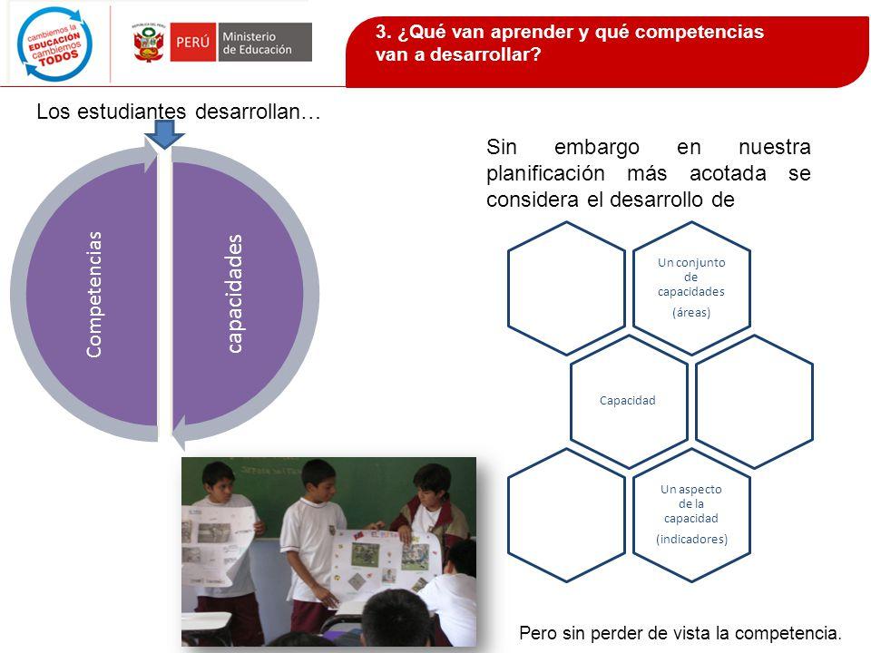 Los estudiantes desarrollan… Sin embargo en nuestra planificación más acotada se considera el desarrollo de capacidades Competencias Un conjunto de ca