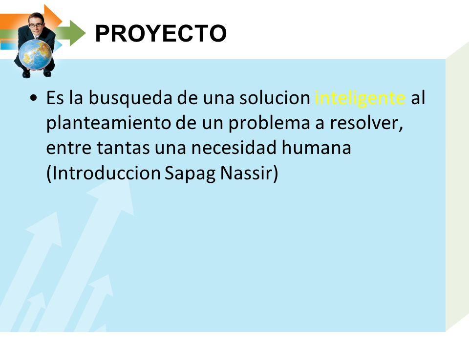 PROYECTO Es la busqueda de una solucion inteligente al planteamiento de un problema a resolver, entre tantas una necesidad humana (Introduccion Sapag