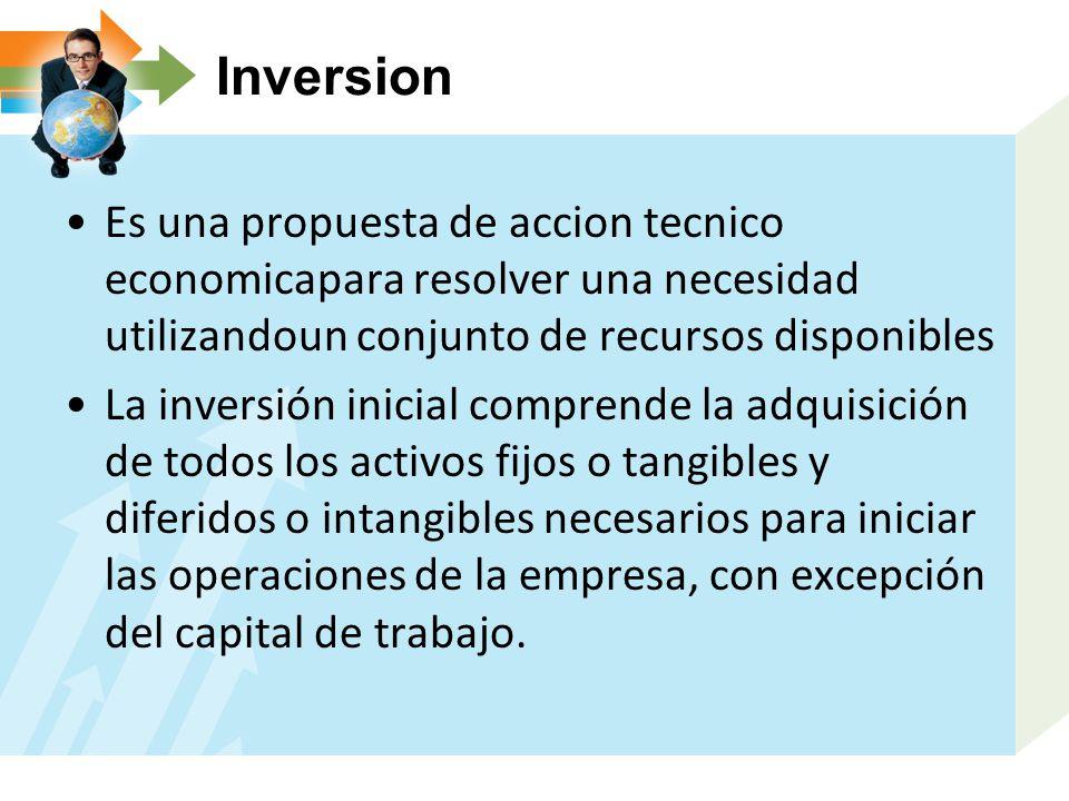 Inversion Es una propuesta de accion tecnico economicapara resolver una necesidad utilizandoun conjunto de recursos disponibles La inversión inicial c