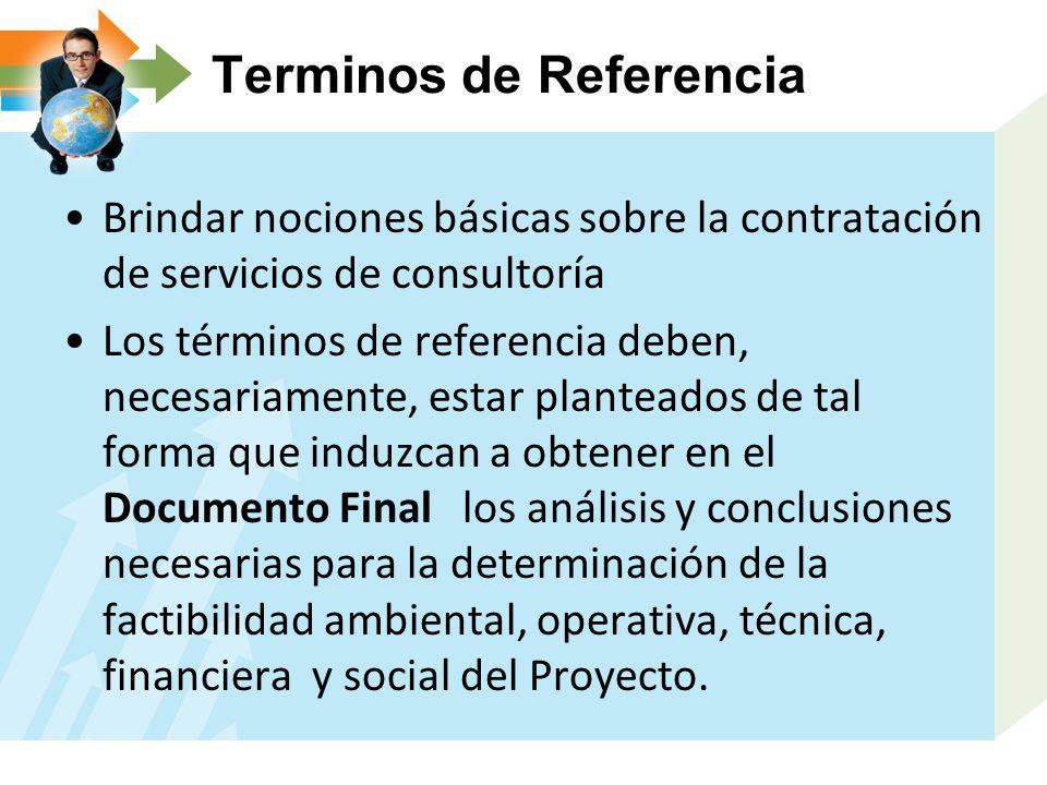 Terminos de Referencia Brindar nociones básicas sobre la contratación de servicios de consultoría Los términos de referencia deben, necesariamente, es