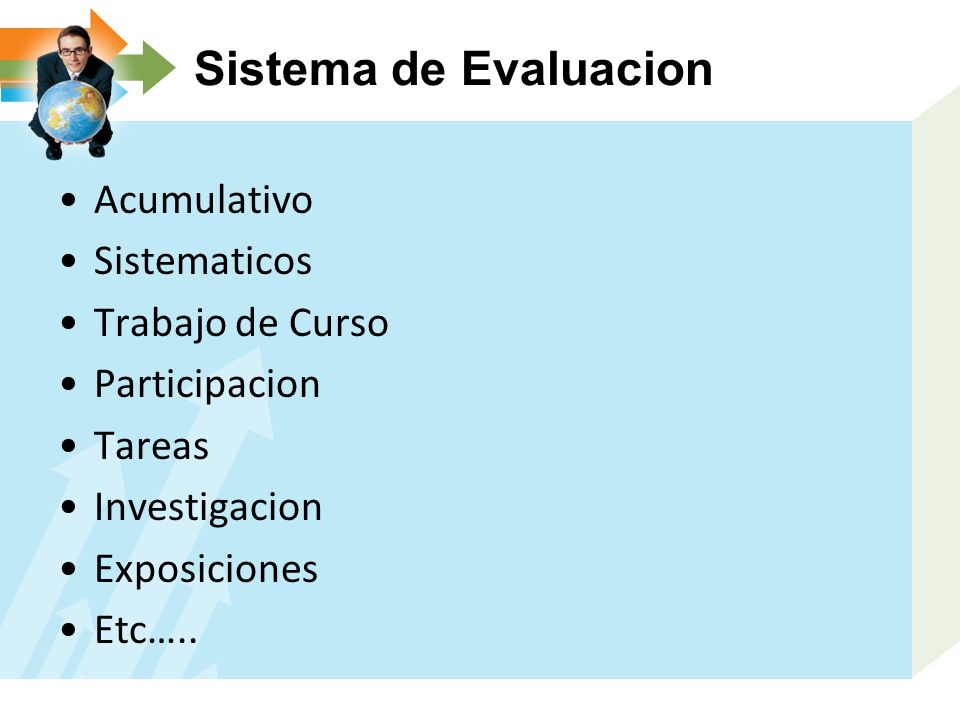 Sistema de Evaluacion Acumulativo Sistematicos Trabajo de Curso Participacion Tareas Investigacion Exposiciones Etc…..