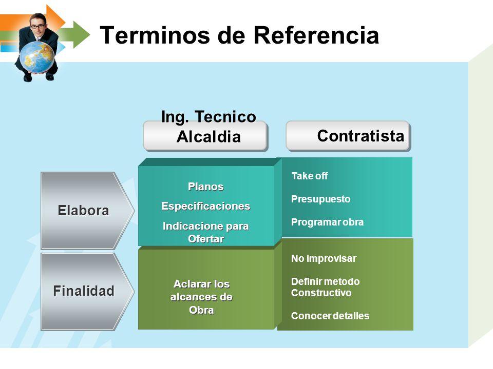 Terminos de Referencia Aclarar los alcances de Obra Elabora Finalidad No improvisar Definir metodo Constructivo Conocer detalles Ing. Tecnico Alcaldia