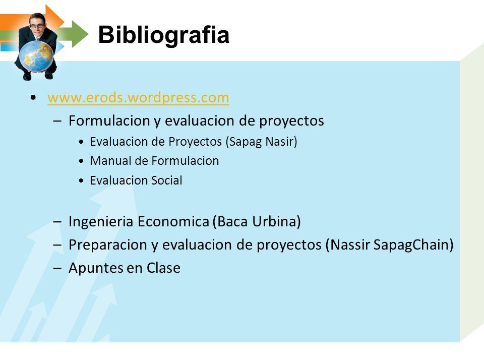 Bibliografia www.erods.wordpress.com –Formulacion y evaluacion de proyectos Evaluacion de Proyectos (Sapag Nasir) Manual de Formulacion Evaluacion Soc