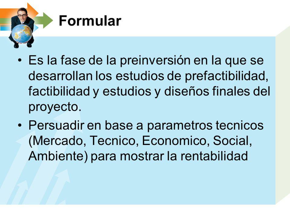 Formular Es la fase de la preinversión en la que se desarrollan los estudios de prefactibilidad, factibilidad y estudios y diseños finales del proyect