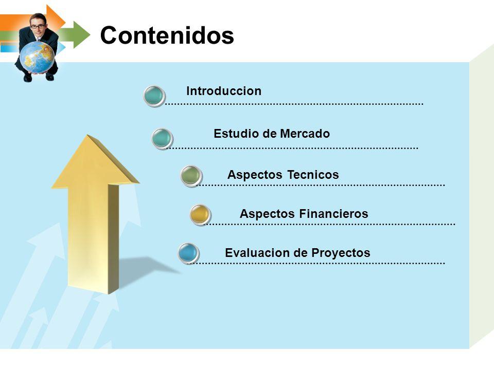 Contenidos Introduccion Aspectos Tecnicos Aspectos Financieros Evaluacion de Proyectos Estudio de Mercado
