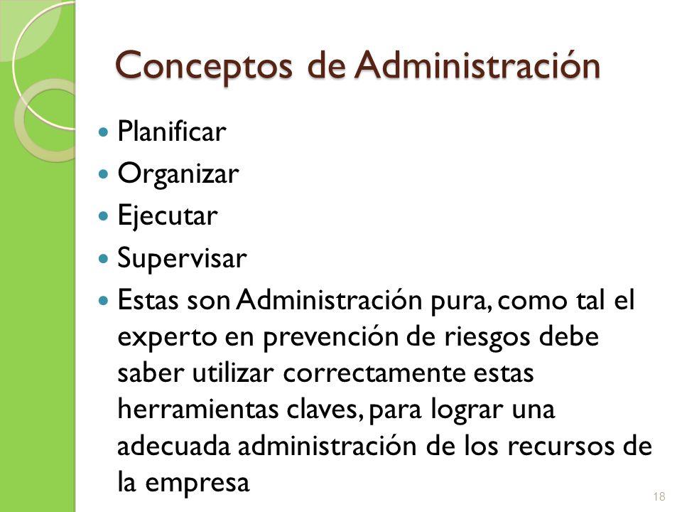 Conceptos de Administración Planificar Organizar Ejecutar Supervisar Estas son Administración pura, como tal el experto en prevención de riesgos debe