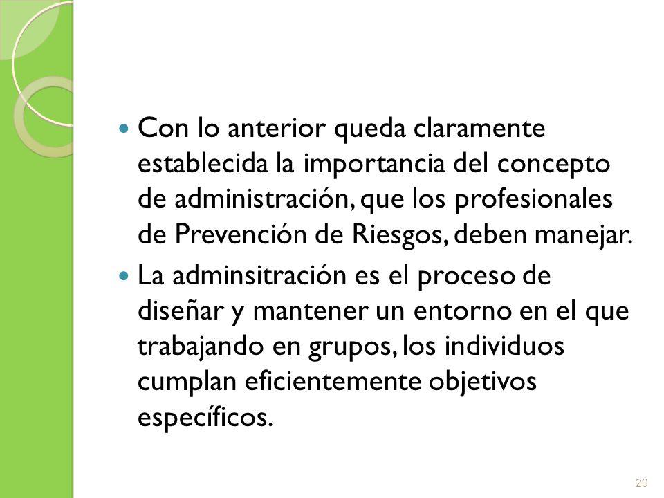 Con lo anterior queda claramente establecida la importancia del concepto de administración, que los profesionales de Prevención de Riesgos, deben mane