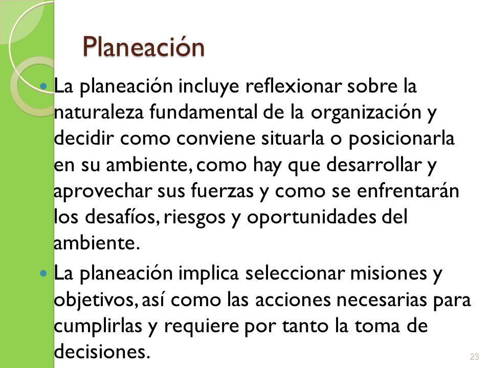 Planeación La planeación incluye reflexionar sobre la naturaleza fundamental de la organización y decidir como conviene situarla o posicionarla en su