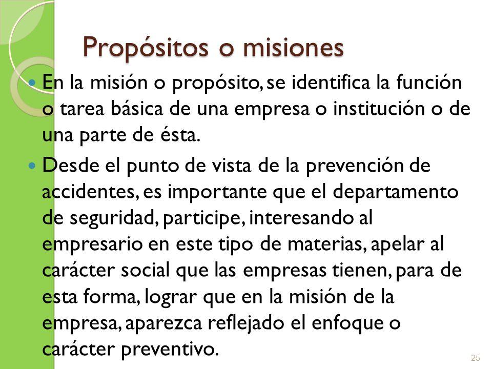 Propósitos o misiones En la misión o propósito, se identifica la función o tarea básica de una empresa o institución o de una parte de ésta. Desde el