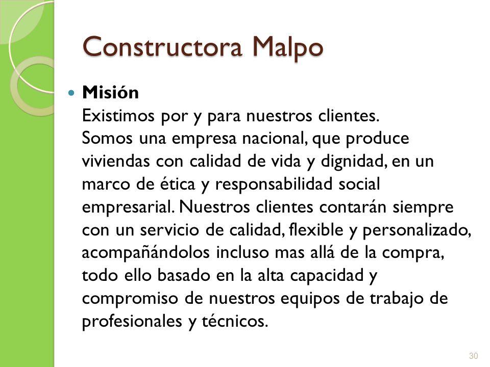 Constructora Malpo Misión Existimos por y para nuestros clientes. Somos una empresa nacional, que produce viviendas con calidad de vida y dignidad, en