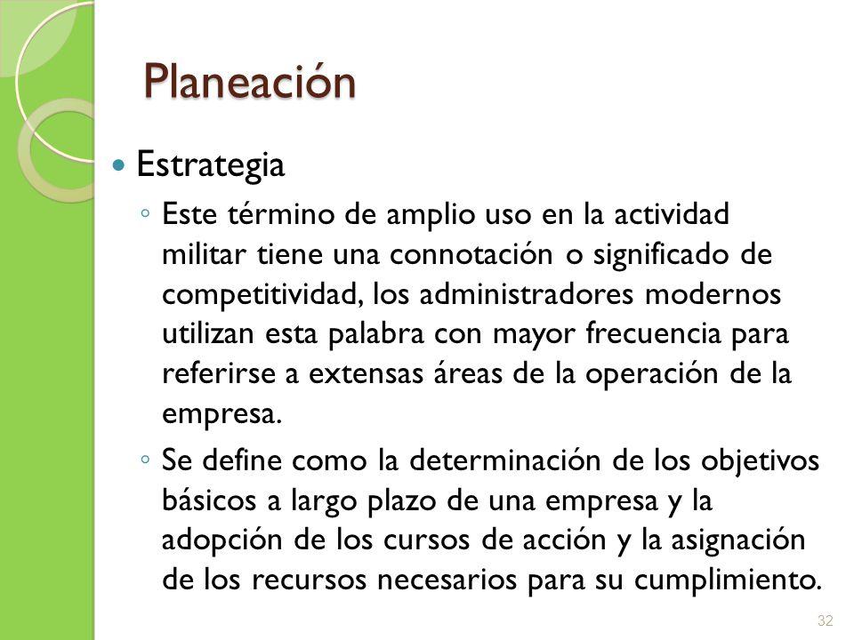 Planeación Estrategia Este término de amplio uso en la actividad militar tiene una connotación o significado de competitividad, los administradores mo