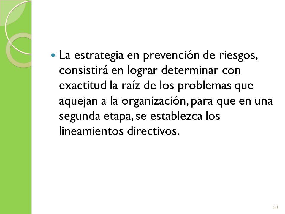 La estrategia en prevención de riesgos, consistirá en lograr determinar con exactitud la raíz de los problemas que aquejan a la organización, para que