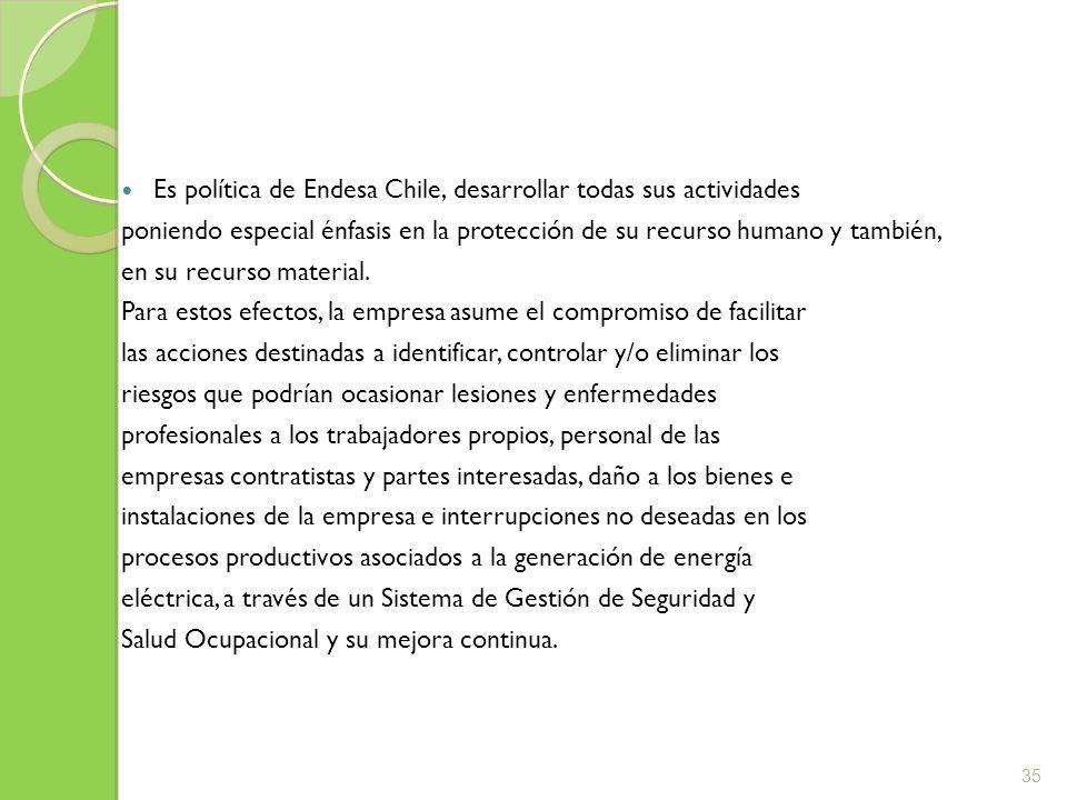 Es política de Endesa Chile, desarrollar todas sus actividades poniendo especial énfasis en la protección de su recurso humano y también, en su recurs
