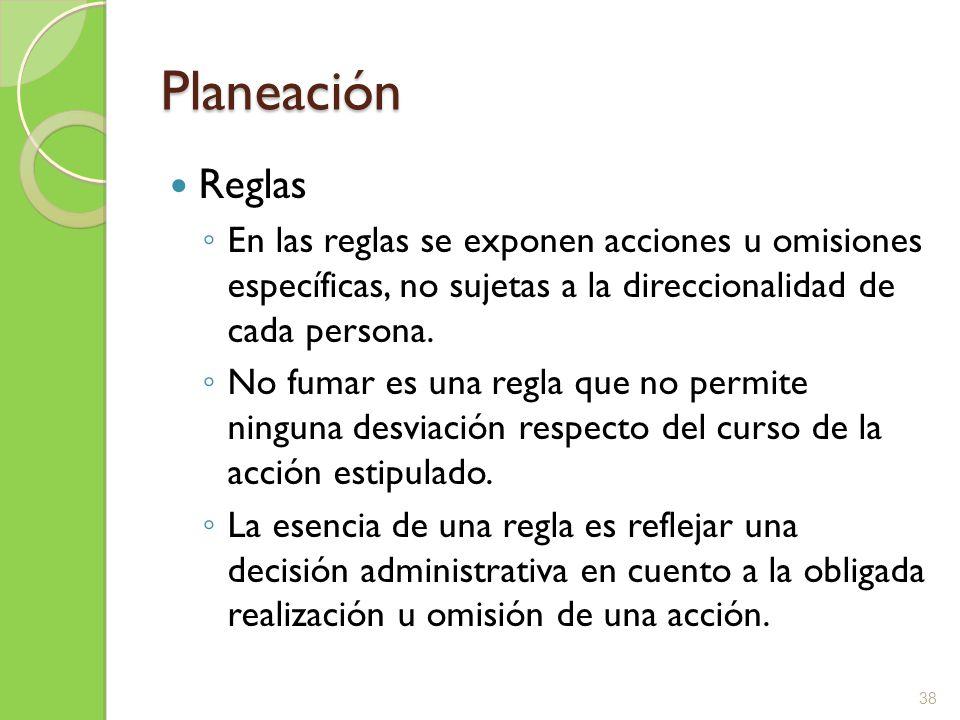 Planeación Reglas En las reglas se exponen acciones u omisiones específicas, no sujetas a la direccionalidad de cada persona. No fumar es una regla qu