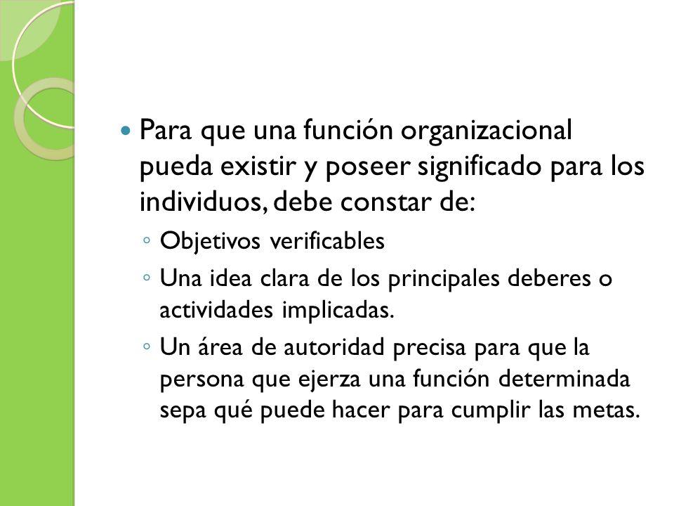 Para que una función organizacional pueda existir y poseer significado para los individuos, debe constar de: Objetivos verificables Una idea clara de
