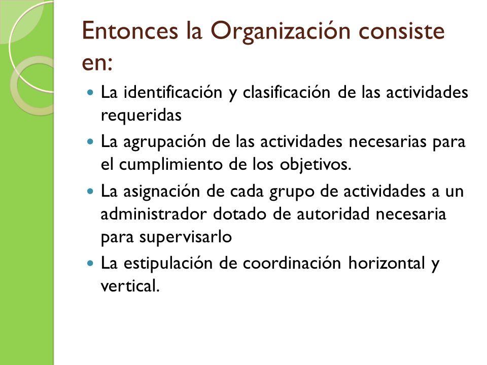 Entonces la Organización consiste en: La identificación y clasificación de las actividades requeridas La agrupación de las actividades necesarias para