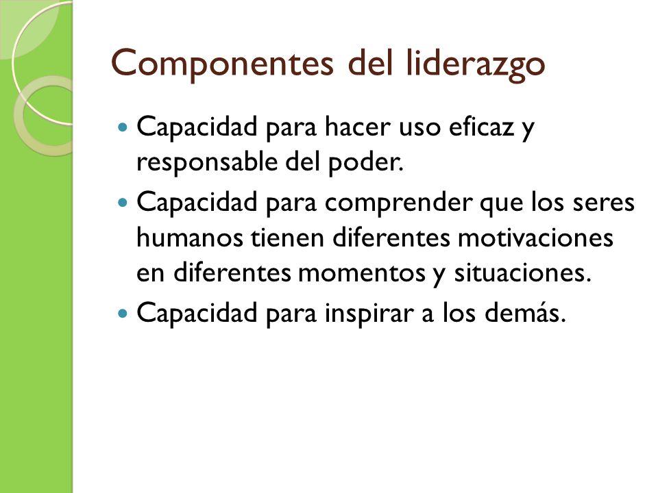 Componentes del liderazgo Capacidad para hacer uso eficaz y responsable del poder. Capacidad para comprender que los seres humanos tienen diferentes m