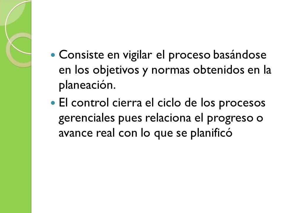 Consiste en vigilar el proceso basándose en los objetivos y normas obtenidos en la planeación. El control cierra el ciclo de los procesos gerenciales