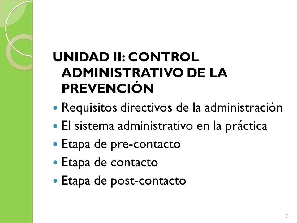 UNIDAD II: CONTROL ADMINISTRATIVO DE LA PREVENCIÓN Requisitos directivos de la administración El sistema administrativo en la práctica Etapa de pre-co