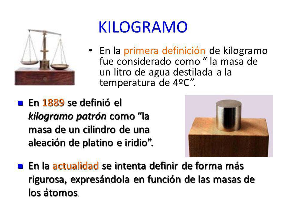 KILOGRAMO En la primera definición de kilogramo fue considerado como la masa de un litro de agua destilada a la temperatura de 4ºC. En 1889 se definió