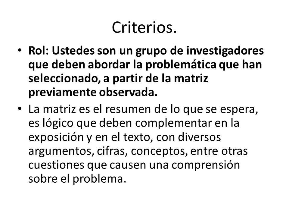 Criterios. Rol: Ustedes son un grupo de investigadores que deben abordar la problemática que han seleccionado, a partir de la matriz previamente obser