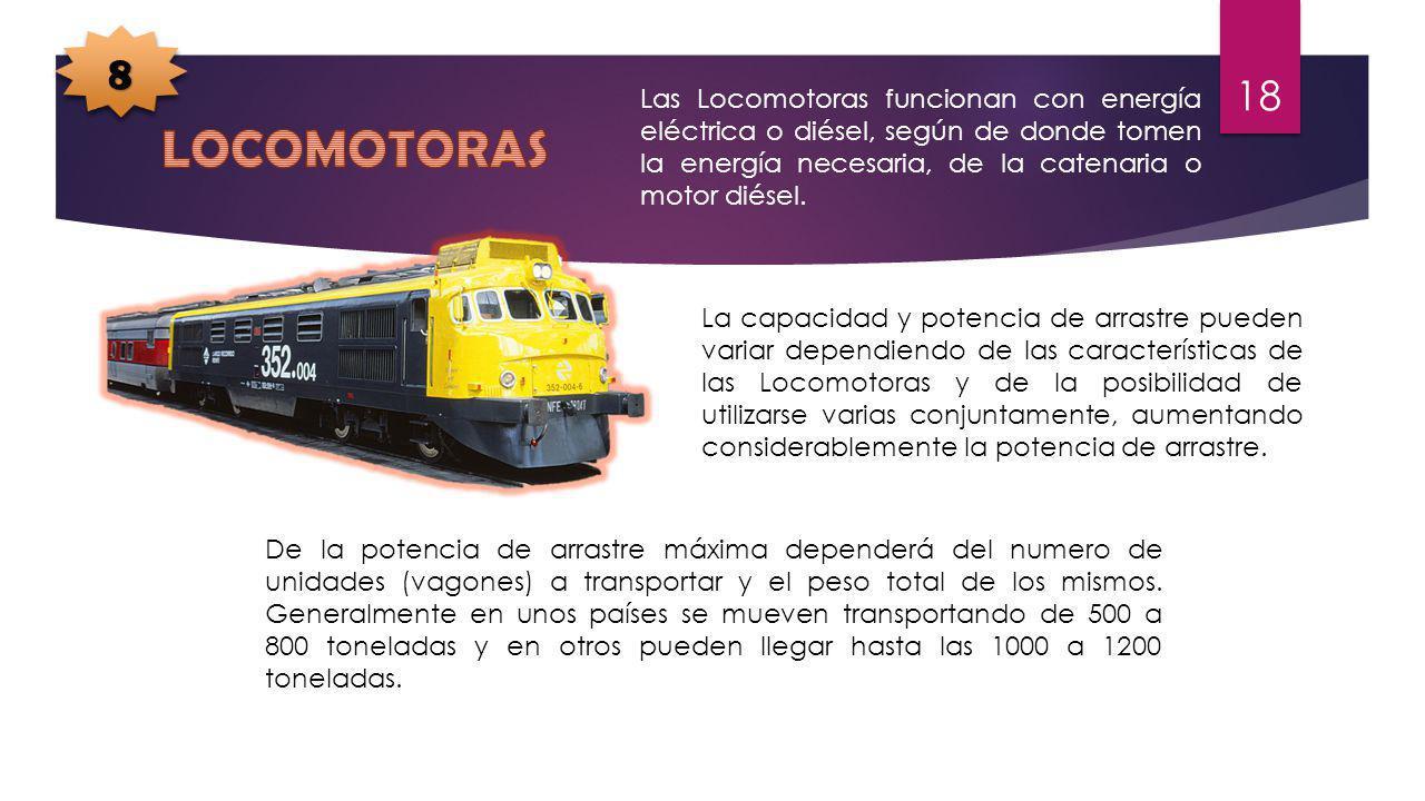 Las Locomotoras funcionan con energía eléctrica o diésel, según de donde tomen la energía necesaria, de la catenaria o motor diésel. La capacidad y po