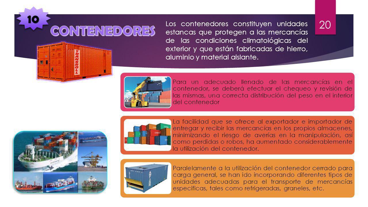 1010 Los contenedores constituyen unidades estancas que protegen a las mercancías de las condiciones climatológicas del exterior y que están fabricadas de hierro, aluminio y material aislante.