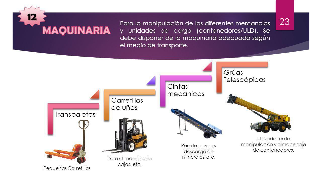 12 Para la manipulación de las diferentes mercancías y unidades de carga (contenedores/ULD). Se debe disponer de la maquinaria adecuada según el medio