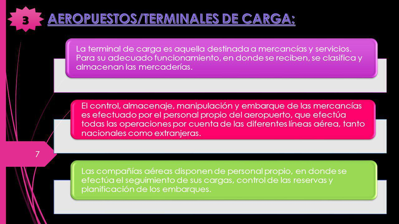 La terminal de carga es aquella destinada a mercancías y servicios. Para su adecuado funcionamiento, en donde se reciben, se clasifica y almacenan las