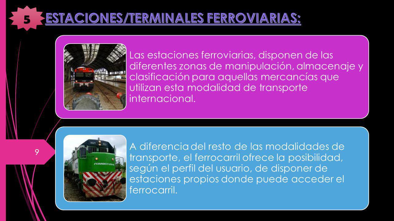 Las estaciones ferroviarias, disponen de las diferentes zonas de manipulación, almacenaje y clasificación para aquellas mercancías que utilizan esta modalidad de transporte internacional.