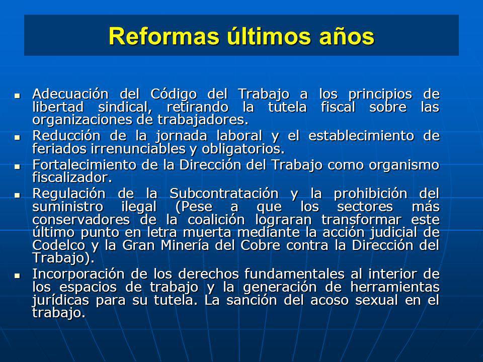 Reformas últimos años Adecuación del Código del Trabajo a los principios de libertad sindical, retirando la tutela fiscal sobre las organizaciones de
