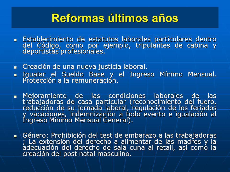 Reformas últimos años Establecimiento de estatutos laborales particulares dentro del Código, como por ejemplo, tripulantes de cabina y deportistas pro