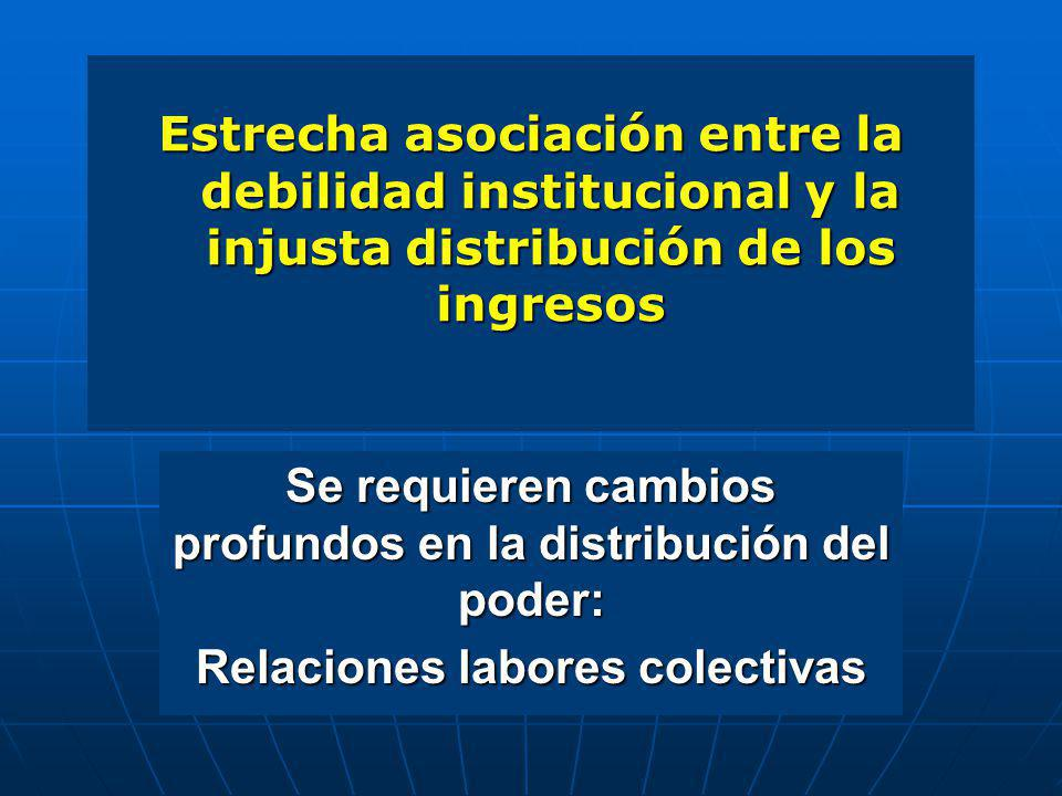 Estrecha asociación entre la debilidad institucional y la injusta distribución de los ingresos Se requieren cambios profundos en la distribución del p