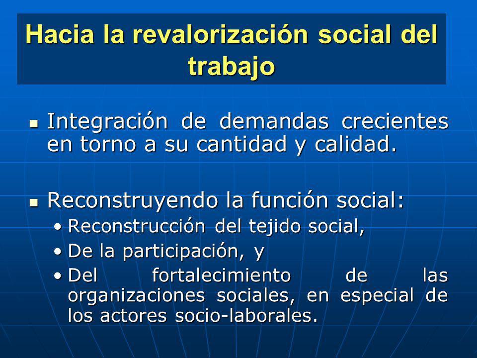 Hacia la revalorización social del trabajo Integraciónde demandas crecientes en torno a su cantidad y calidad. Integración de demandas crecientes en t