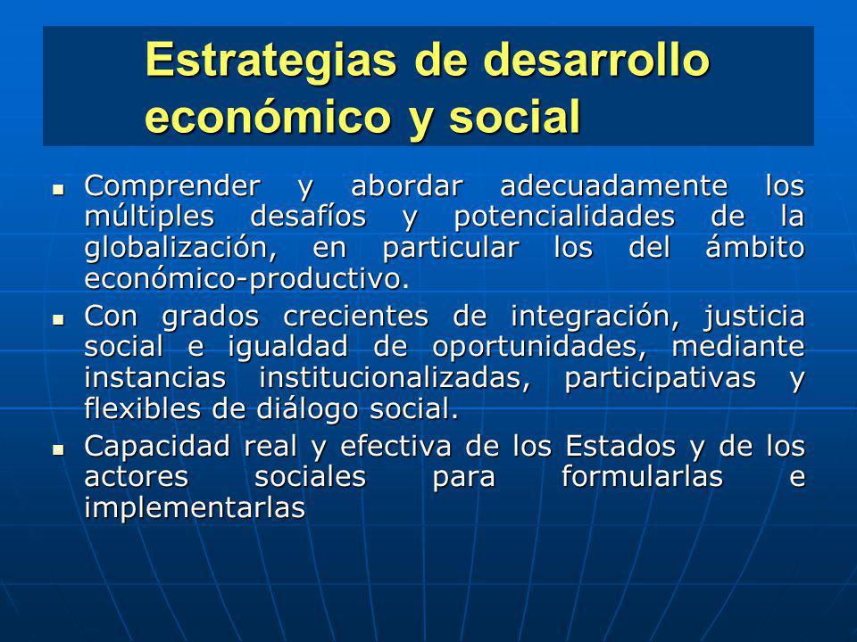 Estrategias de desarrollo económico y social Comprender y abordar adecuadamente los múltiples desafíos y potencialidades de la globalización, en parti