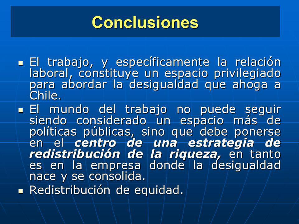 Conclusiones El trabajo, y específicamente la relación laboral, constituye un espacio privilegiado para abordar la desigualdad que ahoga a Chile. El t