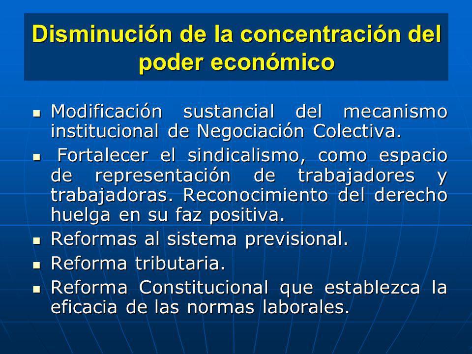 Disminución de la concentración del poder económico Modificación sustancial del mecanismo institucional de Negociación Colectiva. Modificación sustanc
