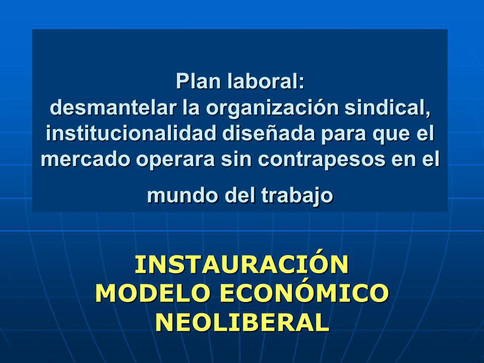 Plan laboral: desmantelar la organización sindical, institucionalidad diseñada para que el mercado operara sin contrapesos en el mundo del trabajo INS