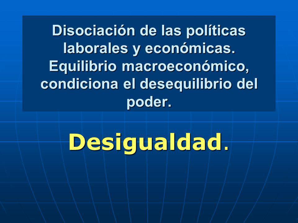 Disociación de las políticas laborales y económicas. Equilibrio macroeconómico, condiciona el desequilibrio del poder. Desigualdad.