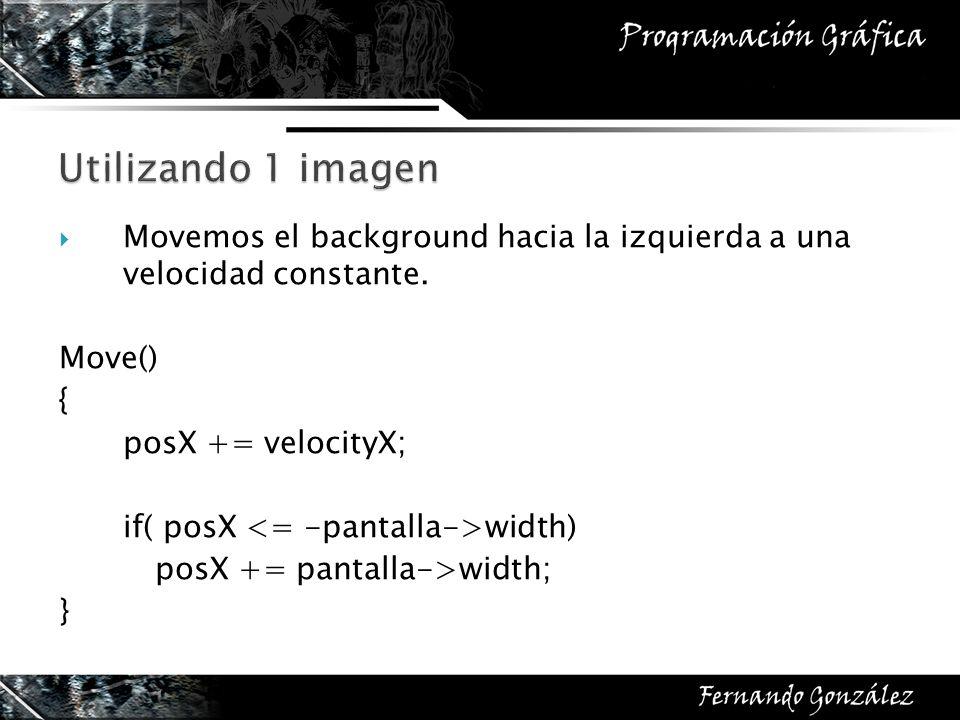 Movemos el background hacia la izquierda a una velocidad constante. Move() { posX += velocityX; if( posX width) posX += pantalla->width; }