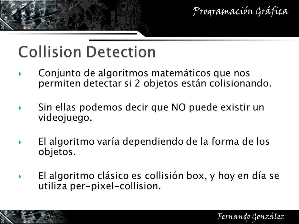 Conjunto de algoritmos matemáticos que nos permiten detectar si 2 objetos están colisionando. Sin ellas podemos decir que NO puede existir un videojue