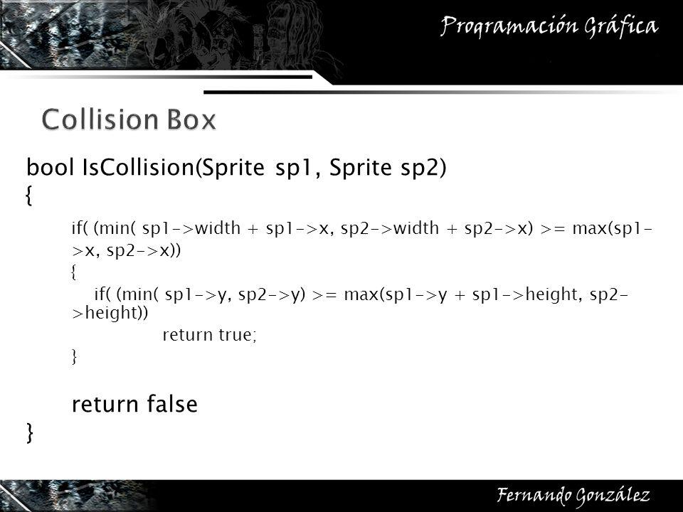 bool IsCollision(Sprite sp1, Sprite sp2) { if( (min( sp1->width + sp1->x, sp2->width + sp2->x) >= max(sp1- >x, sp2->x)) { if( (min( sp1->y, sp2->y) >=