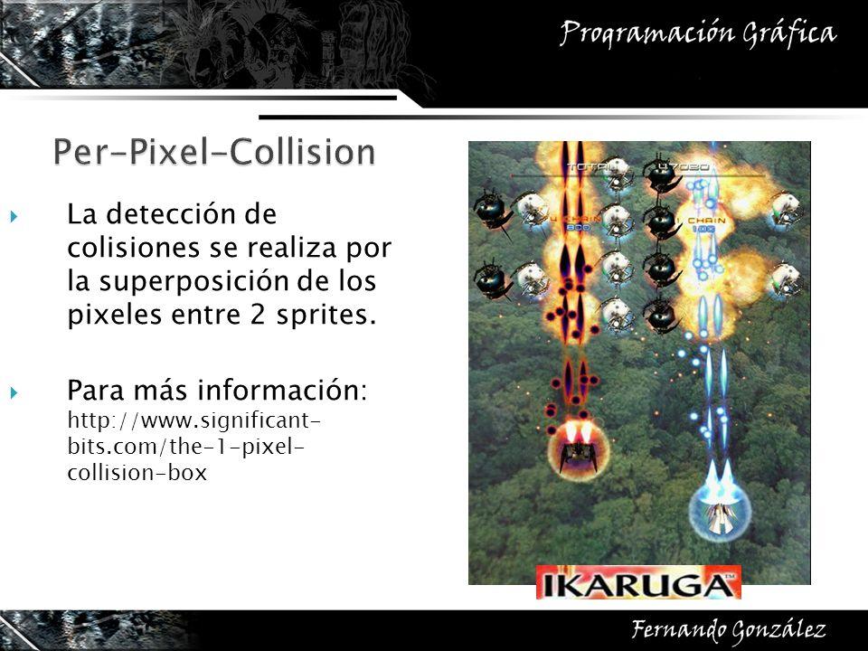 La detección de colisiones se realiza por la superposición de los pixeles entre 2 sprites. Para más información: http://www.significant- bits.com/the-