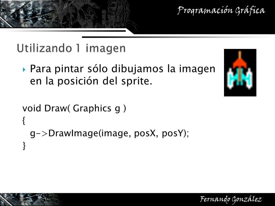 Para pintar sólo dibujamos la imagen en la posición del sprite. void Draw( Graphics g ) { g->DrawImage(image, posX, posY); }